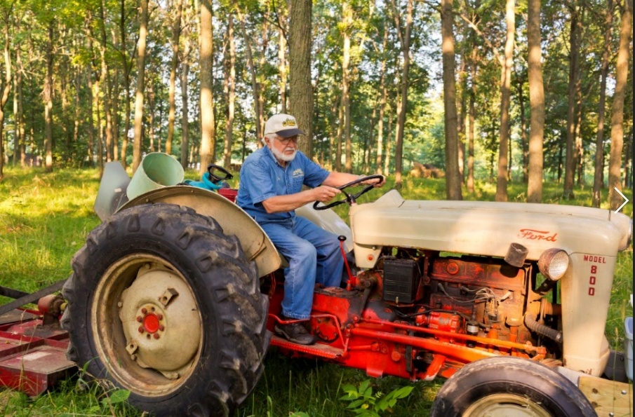 Never one to shy away from hard work, Jay Lehman can often be found on his tractor, mowing and planting trees.
