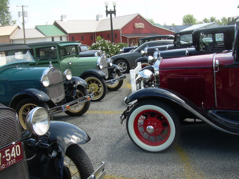 Vintage Ford Model T tour group visiting Lehman's in Kidron, Ohio