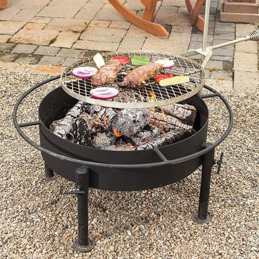 Amish Made Fire Pit With Grill Attachment Grilling Lehman S