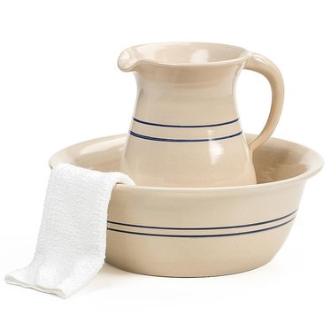Heritage Blue Stripe Wash Basin & Pitcher Set