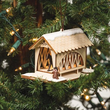 Handmade Covered Bridge and Amish Buggy Ornament