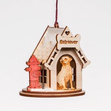 Handmade Retriever Dog House Ornament