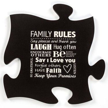 Family Rules Decorative Puzzle Piece
