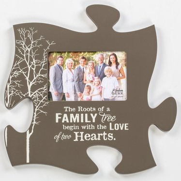 The Roots of a Family Puzzle Piece Photo Frame