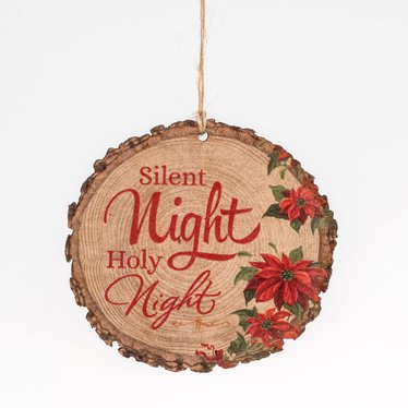 Silent Night Holy Night Log Ornament