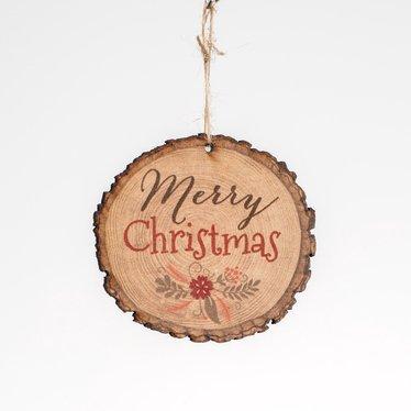 Merry Christmas Log Ornament