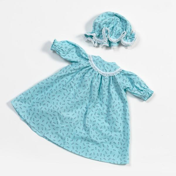 Eli & Mattie Doll Nightgown and Cap - Blue Cotton