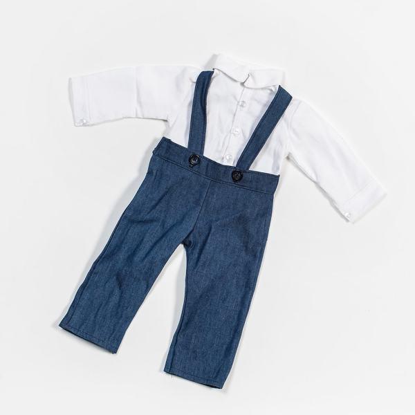 Eli & Mattie Doll Shirt and Overalls – White