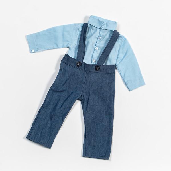 Eli & Mattie Doll Shirt and Overalls – Blue