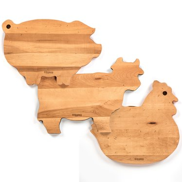 Animal Shaped Maple Cutting Boards Knives Sharpeners And