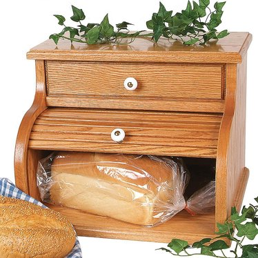Oak Roll Top Bread Box With Drawer Storage And Serving