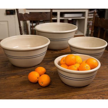 Heritage Blue Stripe Stoneware Mixing Bowls - Set of 4
