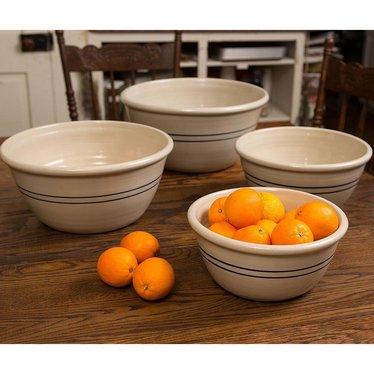 Heritage Blue Stripe Stoneware Mixing Bowls - Set of 4