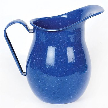Blue Enamelware Water Pitcher