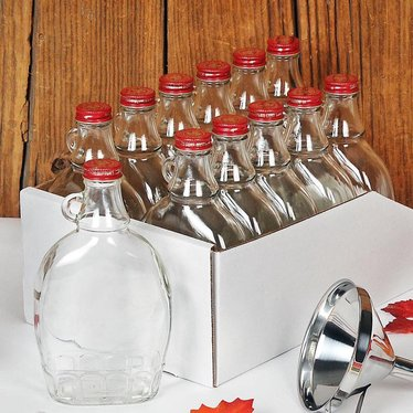 Set Of 12 Glass Syrup Bottles With Lids Maple Syrup