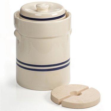 Striped European-Style Fermenting Crock - 3 Gallon