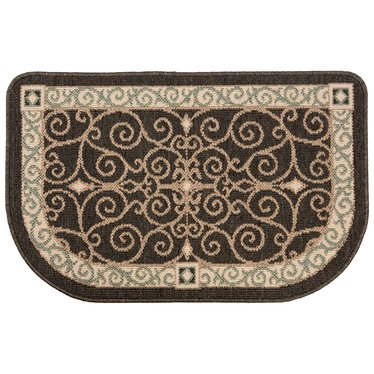 Flame Resistant Hearth Rug Charcoal Scroll
