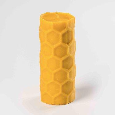 Beeswax Tall Honeycomb Pillar Candle