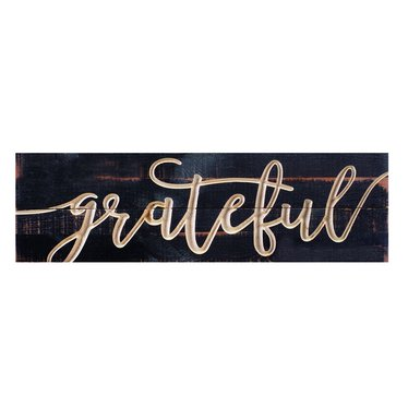 Grateful Carved Calligraphy Sign