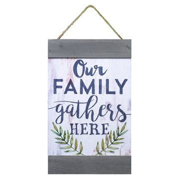 Our Family Gathers Here Wall Banner