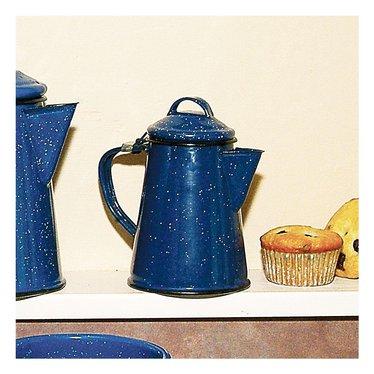 Small Royal Blue Enamelware Coffee Boiler