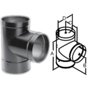 durablack tee with cleanout cap wood stove pipe stove parts
