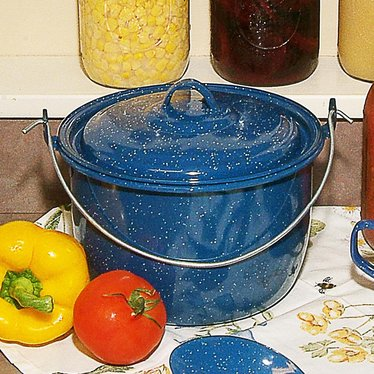 Royal Blue Enamelware Kettle with Lid