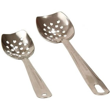 Blunt-End Slotted Stainless Steel Spoons