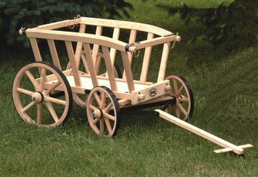 Small Amish Made Wooden Goat Wagons Garden Accessories