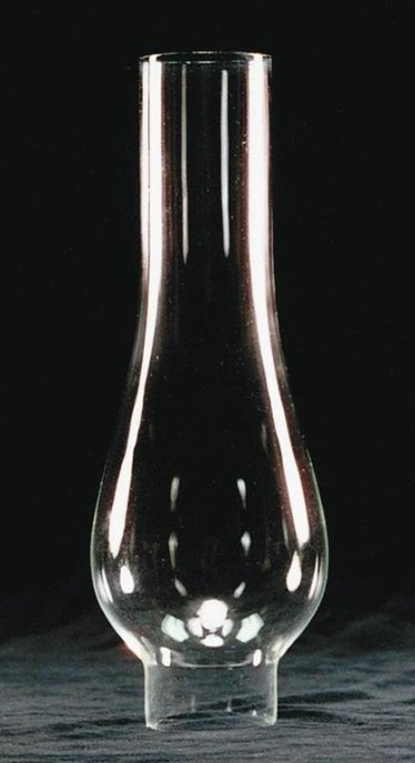 "Clear Oil Lamp Chimney - 2"" base"