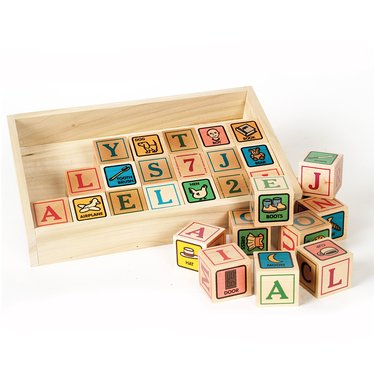 USA-Handmade Blocks with Letters and Pictures