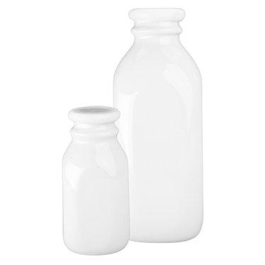 Porcelain Milk Bottles with Lids