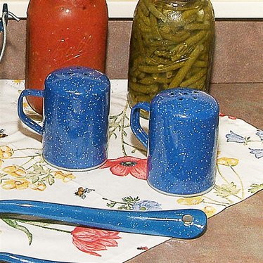 Royal Blue Enamelware Salt and Pepper Shakers