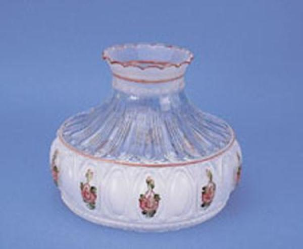 Aladdin Pink Rose Glass Oil Lamp Shade