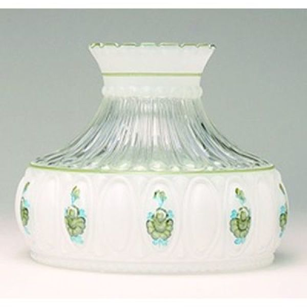 Aladdin Green Rose Glass Oil Lamp Shade
