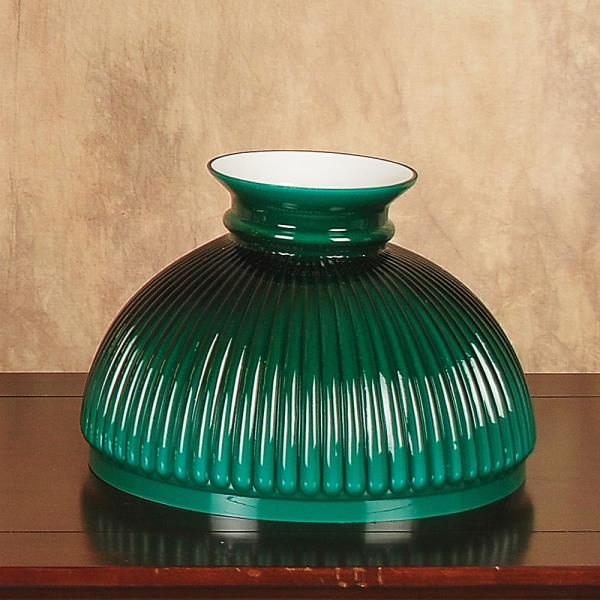 Aladdin Green Ribbed Glass Oil Lamp Shade