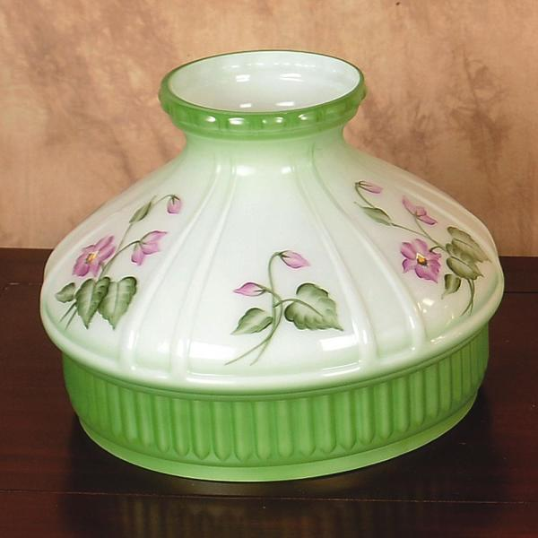 Aladdin Violet Floral Glass Oil Lamp Shade