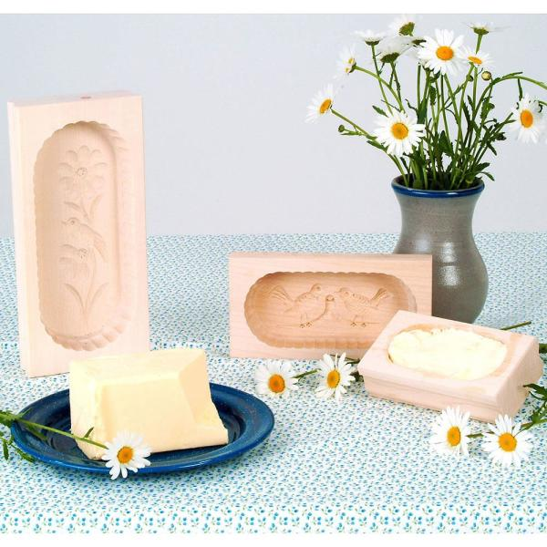 Set of 3 Carved Rectangular Butter Molds from Germany