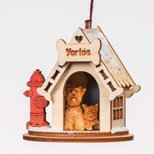 Handmade Yorkie Dog House Ornament