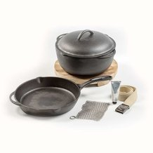 "Cast Iron Gift Set: 10"" Skillet, Crock & Trivet"