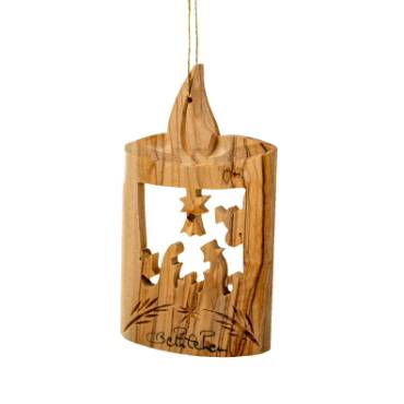 Olive Wood Ornament - Candle with Nativity