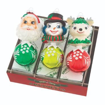 Christopher Radko Ornaments - Figure Round Holiday Splendor (3) - 5.5 inch