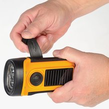 Solar and Hand-Powered Safety Flashlight