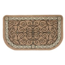 Flame-Resistant Hearth Rug - Tan Scroll