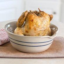 Heritage Blue Stripe Stoneware Chicken Cooker