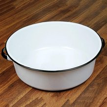 Enamelware Dish Basin - White