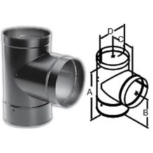 DuraBlack Tee with Clean-Out Cap Wood Stove Pipe