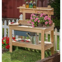 Outdoor Cypress Wooden Potting Table