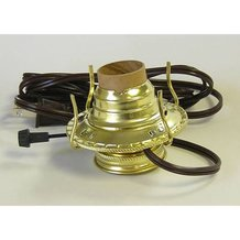 Brass Plated Electrified Burner for Oil Lamps - #2
