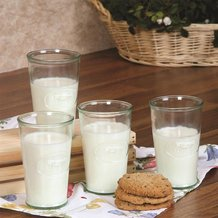 Recycled Glass Milk Glasses - Set of 4
